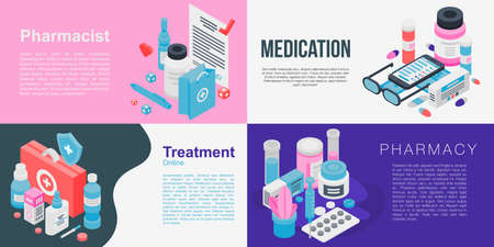 Pharmacist banner set. Isometric set of pharmacist banner for web design Reklamní fotografie