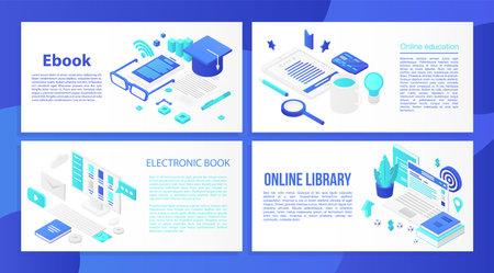 Ebook banner set. Isometric set of ebook banner for web design