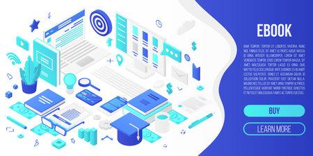 Digital ebook concept banner. Isometric illustration of digital ebook concept banner for web design