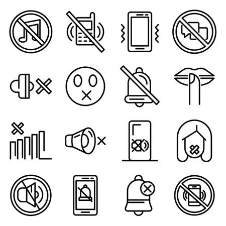 Silence icons set. Outline set of silence icons for web design isolated on white background