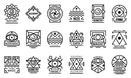 Geometric alchemy icons set. Outline set of geometric alchemy icons for web design isolated on white background