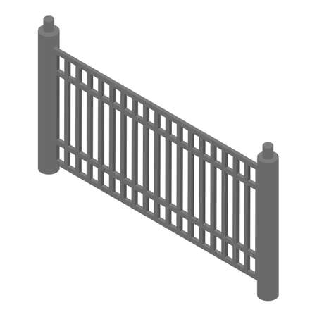 Metal low fence icon. Isometric of metal low fence icon for web design isolated on white background