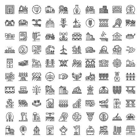 Farming robot icons set. Outline set of farming robot icons for web design isolated on white background