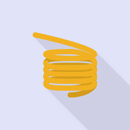 Yellow metal coil icon. Flat illustration of yellow metal coil icon for web design Imagens