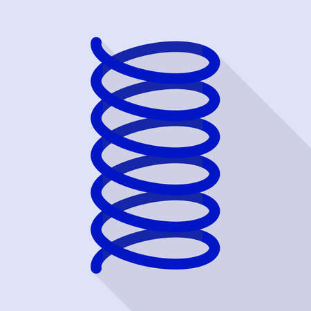 Blue spring coil icon. Flat illustration of blue spring coil icon for web design