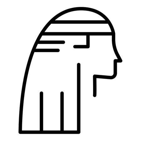 Egyptian pharaoh side view icon. Outline egyptian pharaoh side view icon for web design isolated on white background Stock fotó