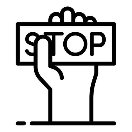 Stop violence icon. Outline stop violence icon for web design isolated on white background Archivio Fotografico