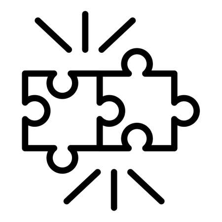 Puzzle pieces icon. Outline puzzle pieces icon for web design isolated on white background