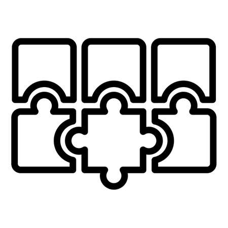 Puzzle combination icon. Outline puzzle combination icon for web design isolated on white background