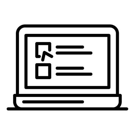 Checkboxes on a laptop icon. Outline checkboxes on a laptop icon for web design isolated on white background