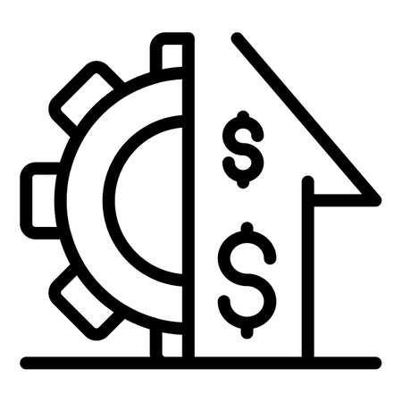 Gear money investor icon. Outline gear money investor icon for web design isolated on white background