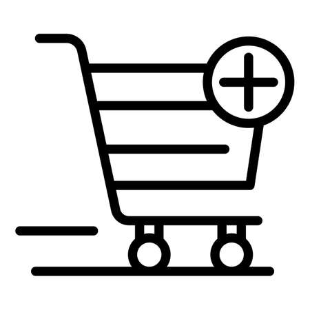 Shopping cart plus icon. Outline shopping cart plus icon for web design isolated on white background