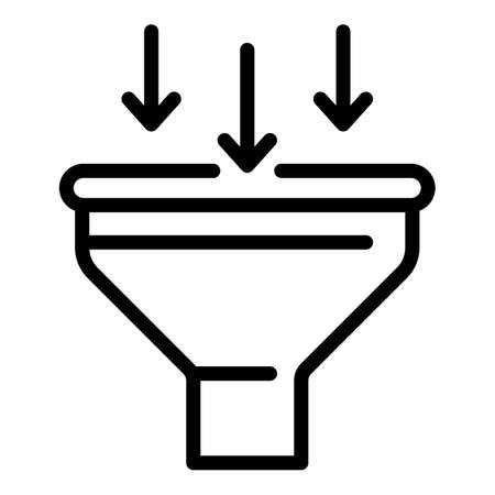Sales funnel icon. Outline sales funnel icon for web design isolated on white background