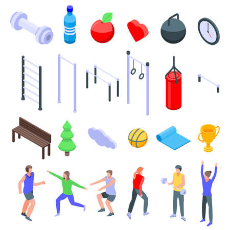 Outdoor fitness icons set. Isometric set of outdoor fitness icons for web design isolated on white background