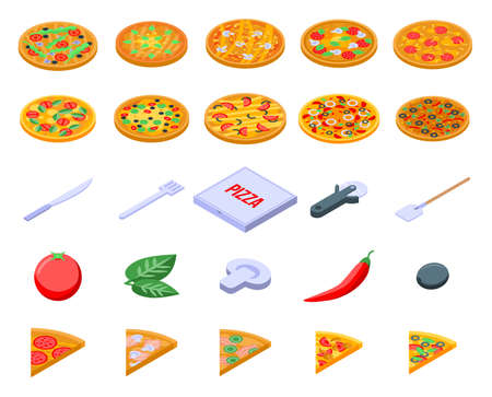Pizza icons set. Isometric set of pizza icons for web design isolated on white background