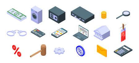 Money laundering icons set. Isometric set of money laundering icons for web design isolated on white background
