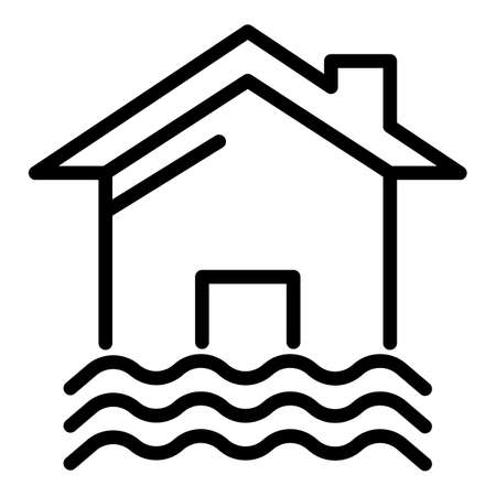 House and water icon. Outline house and water icon for web design isolated on white background Banque d'images