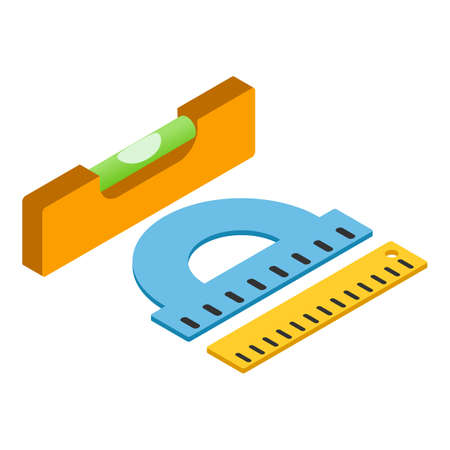 Measuring tool icon, isometric style