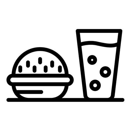 Burger soda glass icon, outline style Archivio Fotografico