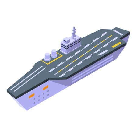 Helicopter aircraft carrier icon, isometric style