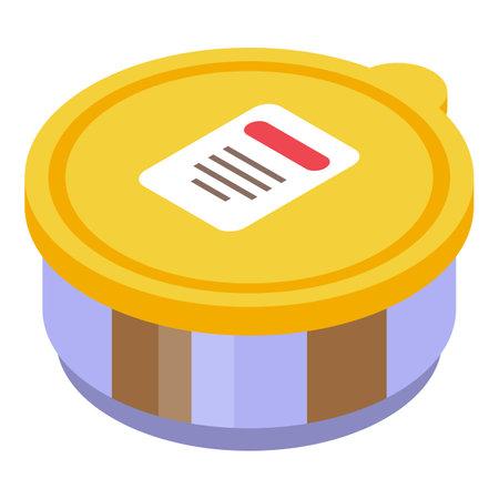 Chocolate paste pot icon, isometric style Illustration