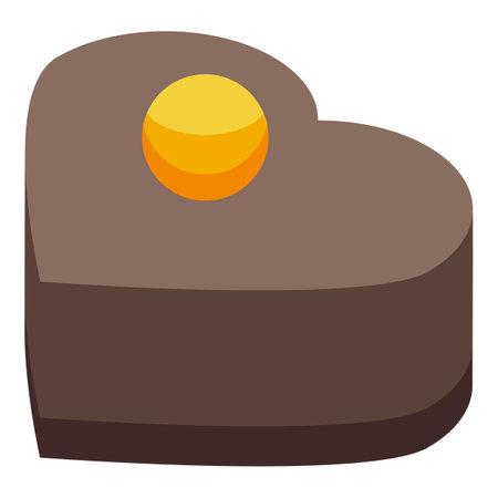 Heart chocolate icon, isometric style