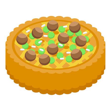 Chestnut cake icon, isometric style