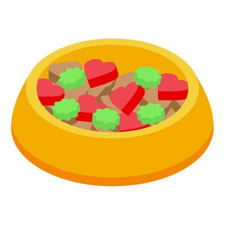 Dog bowl icon, isometric style