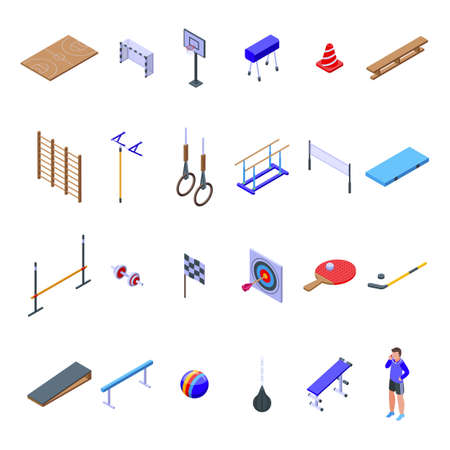 School gym icons set, isometric style