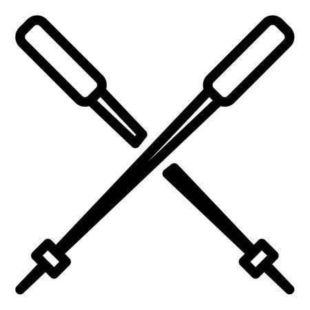 Nordic walking sticks icon, outline style