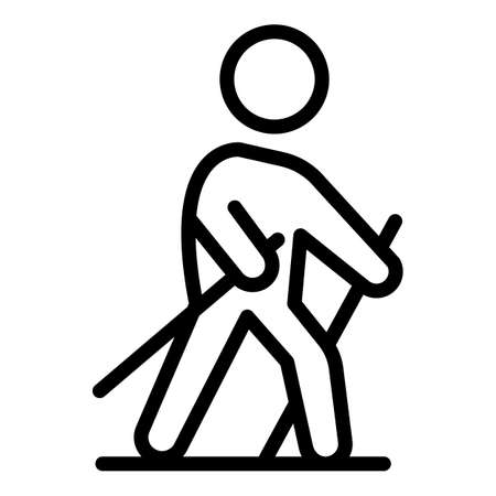 Nordic walking icon, outline style