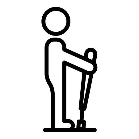 Tourist nordic walking icon, outline style