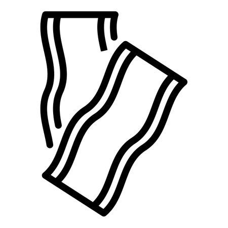 Bacon fresh icon, outline style Vettoriali