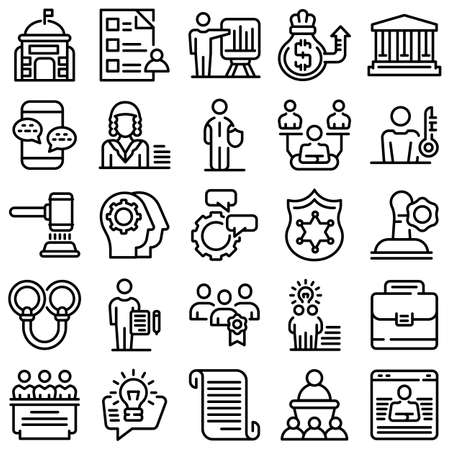 Authority icons set, outline style