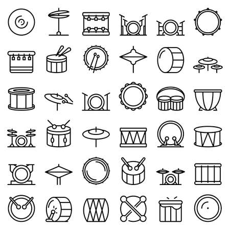 Drum icons set, outline style