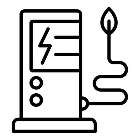 Electric refueling icon, outline style