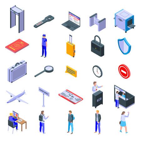 Passport control icons set, isometric style