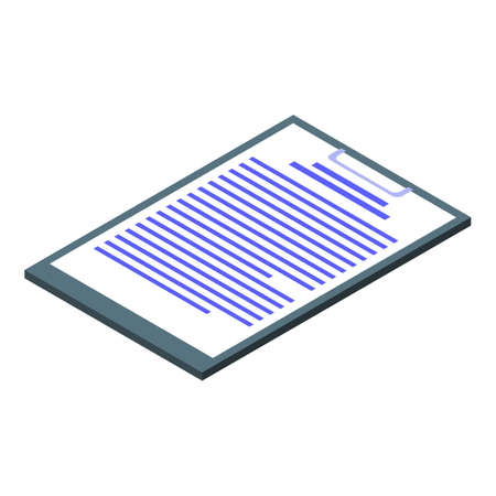 Blood test clipboard icon, isometric style