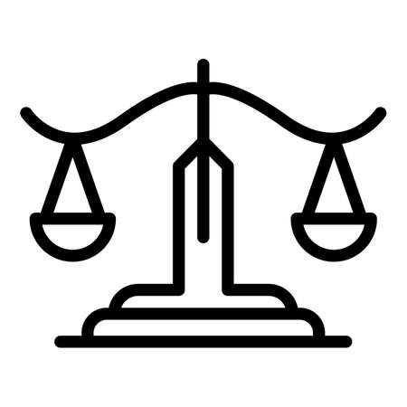 Protection justice balance icon, outline style