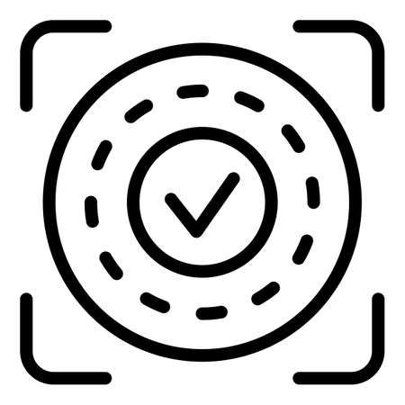 Approved authentication icon, outline style Banco de Imagens
