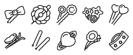 Barrette icons set, outline style