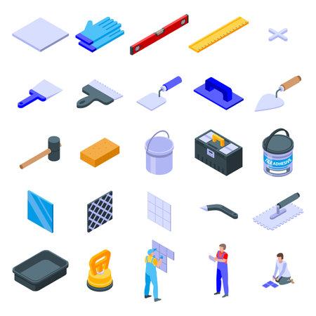 Tiler icons set, isometric style