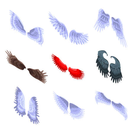 Wings icons set, isometric style Archivio Fotografico