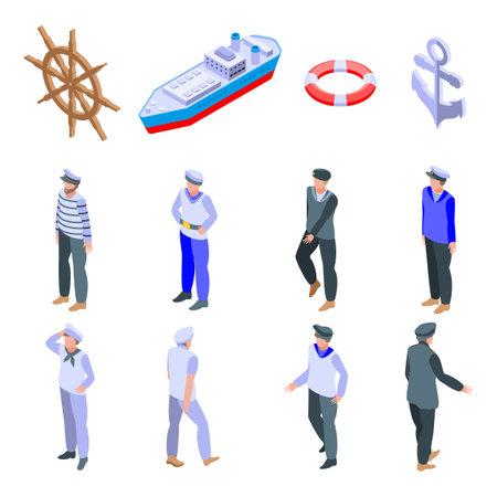 Sailor icons set, isometric style