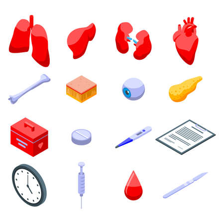 Donate organs icons set, isometric style Stock fotó