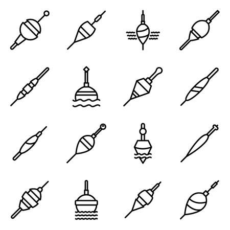 Bobber icons set, outline style