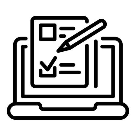 Laptop questionnaire icon, outline style