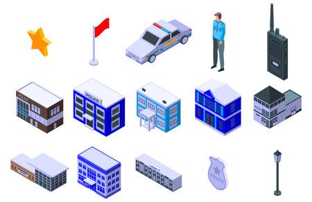 Police station icons set, isometric style