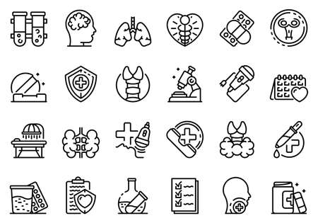 Endocrinologist icons set, outline style