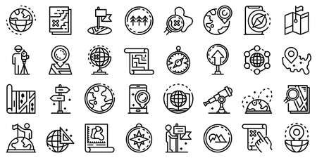 Cartographer icons set, outline style